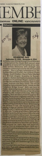 Obituary for Beth Drummond