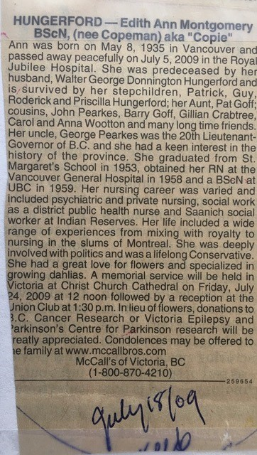 Obituary for Edith Hungerford
