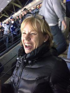 Anne at hockey rink